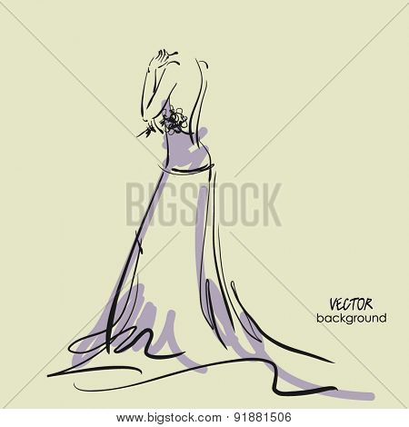 art sketch #1 of beautiful young  bride in lilac dress with the bride's bouquet. Vector background with space for text.