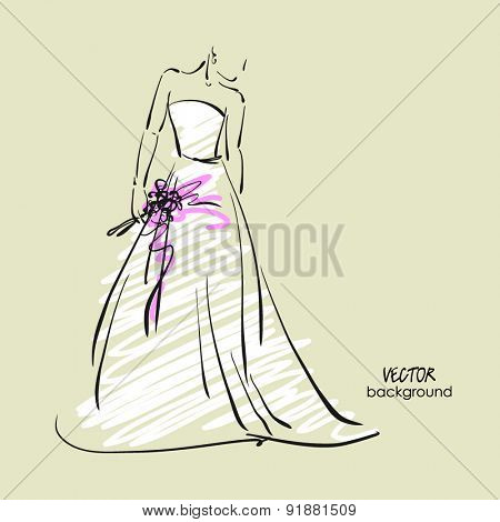 art sketch #10 of beautiful young  bride in white dress with the bride's bouquet. Vector background with space for text.