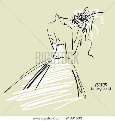 art sketch #8 of beautiful young  bride in white dress with the bride's bouquet. Vector background with space for text.
