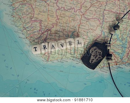 Travel Word of the beads on the map