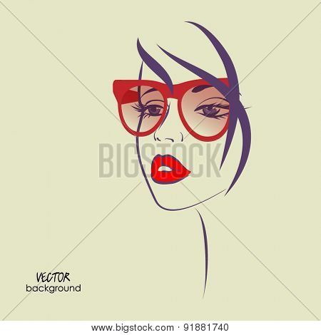 art sketched vector of girl face symbols with glasses