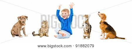 Group of a pets and cheerful child