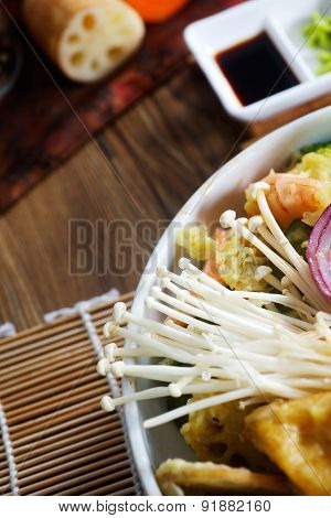 Fried tempura vegetable mix. Closeup photo