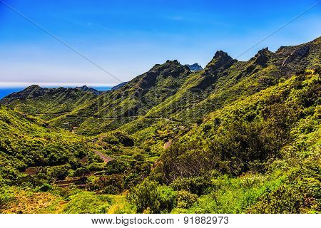 Green Mountains Valley With Winding Road