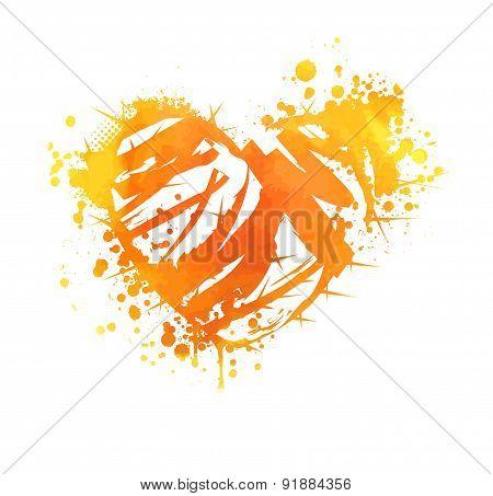Orange Grunge Heart