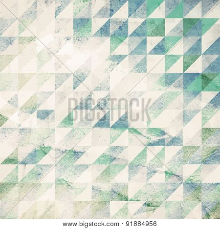 Painted abstract geometric background from watercolor triangle on grunge paper texture