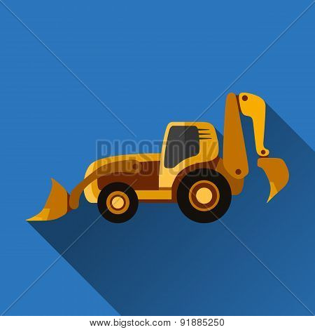 Backhoe Loader Flat Icon