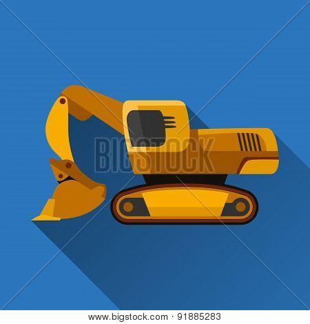 Front Shovel Excavator Flat Icon
