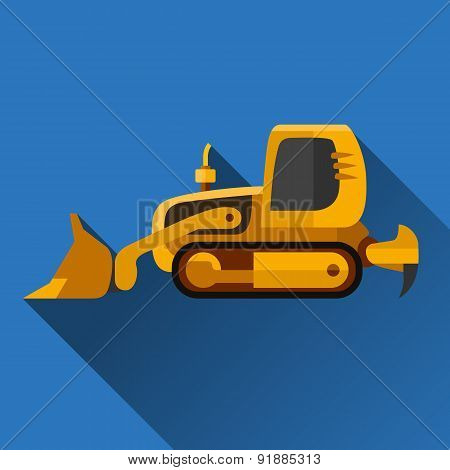 Loader Dozer Flat Icon