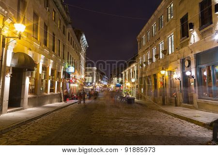 Old Town Montreal At Night
