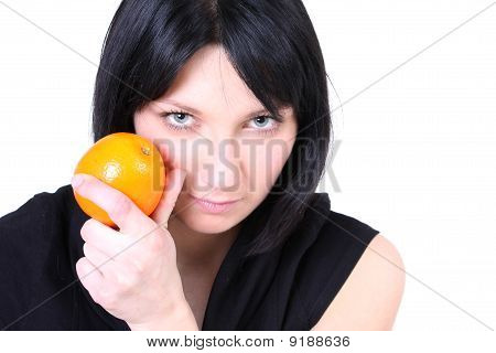 Serious Girl In Black With Orange