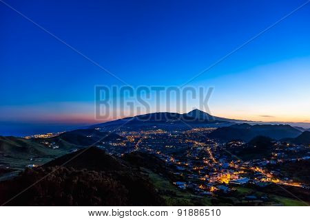 Town With Illumination After Sunset