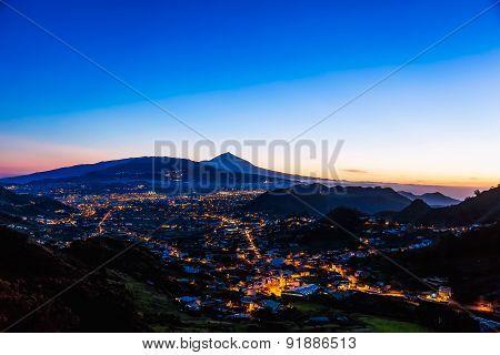 City With Illumination After Sunset