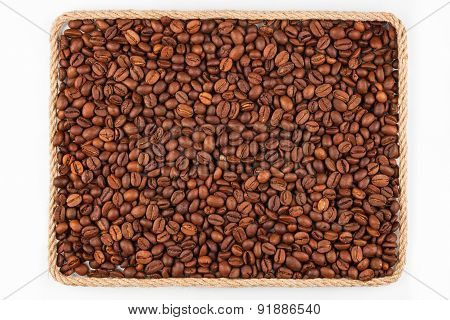 Frame Made Of Rope With Coffee  Beans  Lying On A White Background