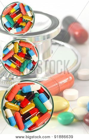 Colorful of oral medications Dish and Medical Background.