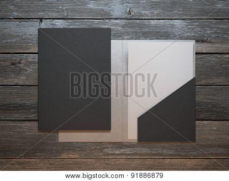 Modern folder on wooden table