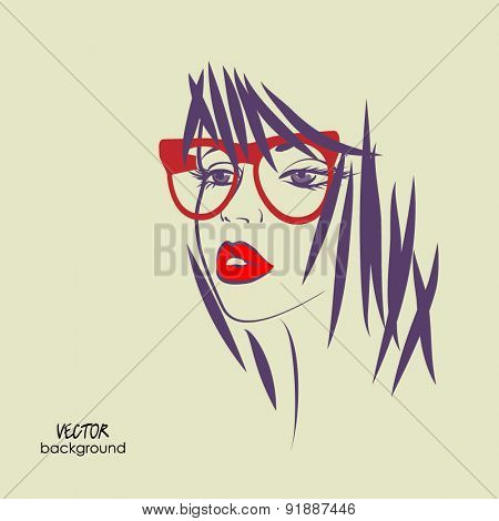 art sketched vector of girl face symbols with short straight hair and glasses