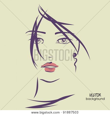 art sketched vector of girl face symbols with short straight hair