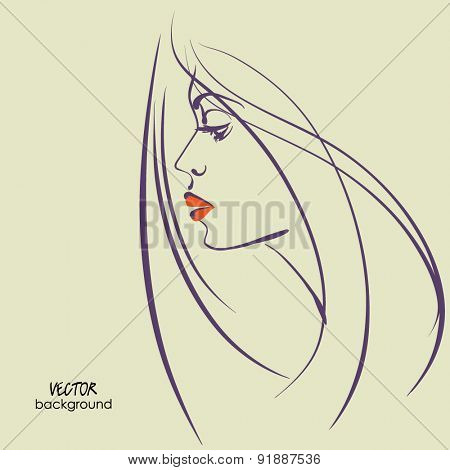 art sketched vector of girl face  symbols in profile with long hair