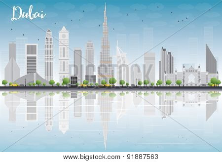 Dubai City skyline with grey skyscrapers, blue sky and reflections. Vector illustration