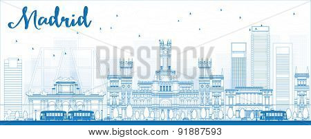 Outline Madrid Skyline with blue buildings. Vector illustration