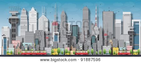 Big city with skyscrapers and small houses. Vector flat illustration