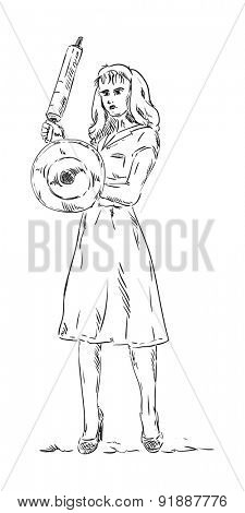 vector - angry woman isolated on background