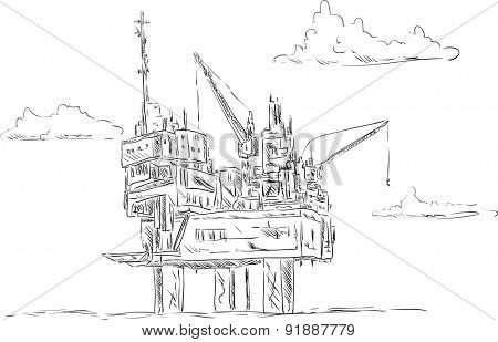 vector - oil platform , isolated on background