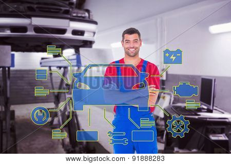 Handyman in overalls standing arms crossed over white backgound against auto repair shop