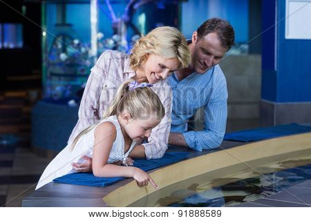 Happy family looking at manta ray at the aquarium