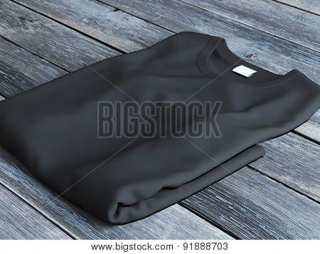 Black folded  t-shirt