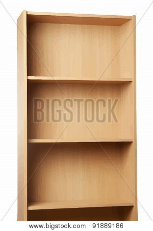 Empty brown bookcase for books and other items to keep, made of wooden planks, isolated on white bac