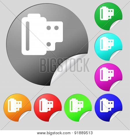 35 Mm Negative Films Icon Sign. Set Of Eight Multi-colored Round Buttons, Stickers. Vector