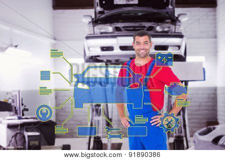 Happy handyman in overalls with hands on hip against auto repair shop