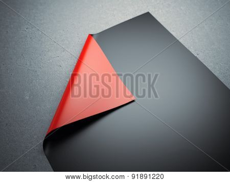 Black rolled sheet with red corner