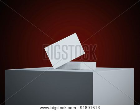 blank business cards on white showcase