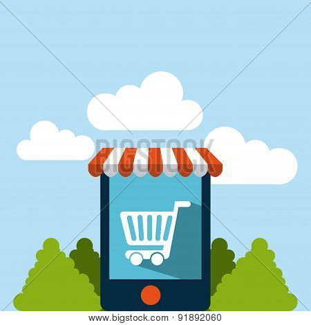 Shopping design over landscape background vector illustration