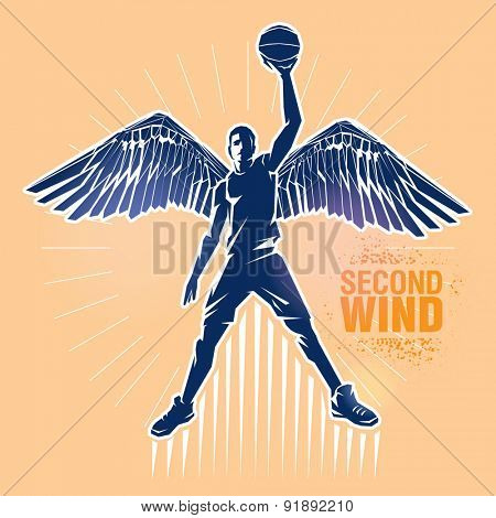 Basketball player. Vector illustration created in topic