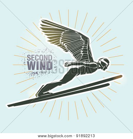 Ski jumping. Vector illustration created in topic