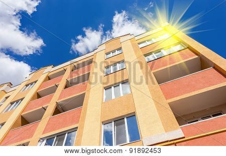 New Residential Building Against The Sky On A Sunny Day