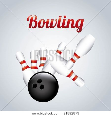 Bowling design over gray background vector illustration
