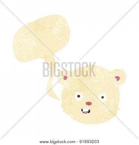 cartoon polar teddy bear head with speech bubble