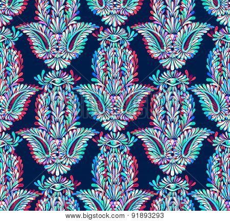 Seamless Neon Ornamental Pattern