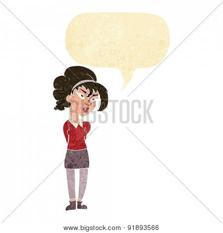 cartoon pretty girl tilting head with speech bubble