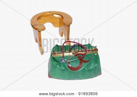 Birthing chair and midwives bag