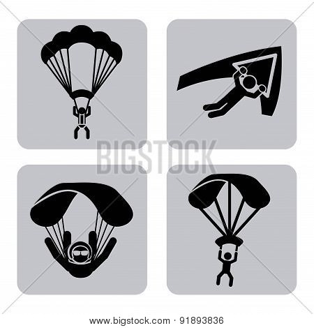 Paragliding design over white background vector illustration