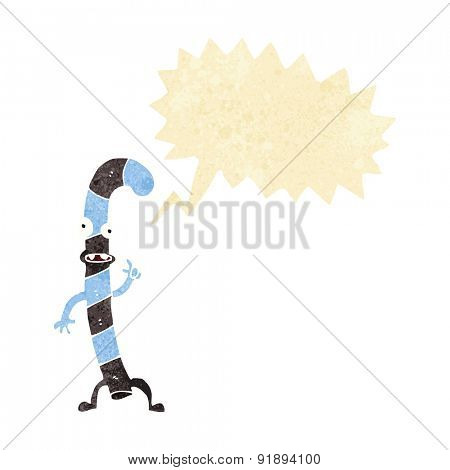 cartoon dancing christmas candy cane with speech bubble