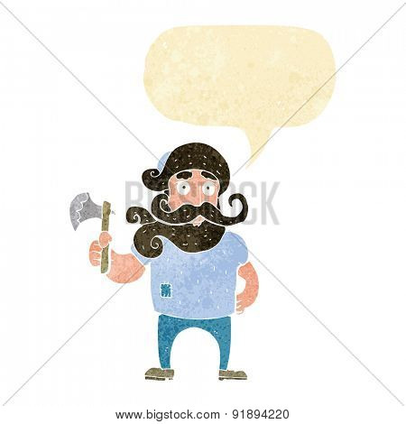 cartoon lumberjack with axe with speech bubble