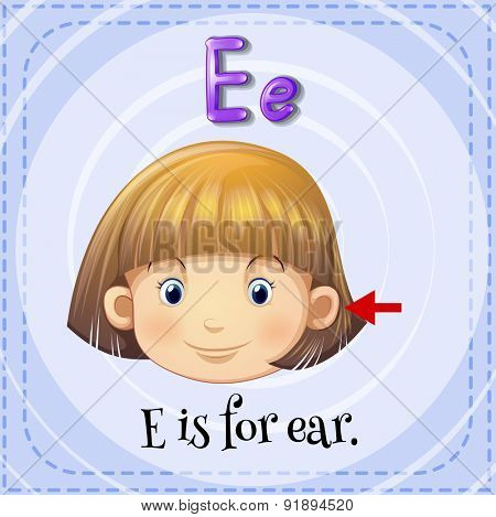 Flashcard letter E is for ear