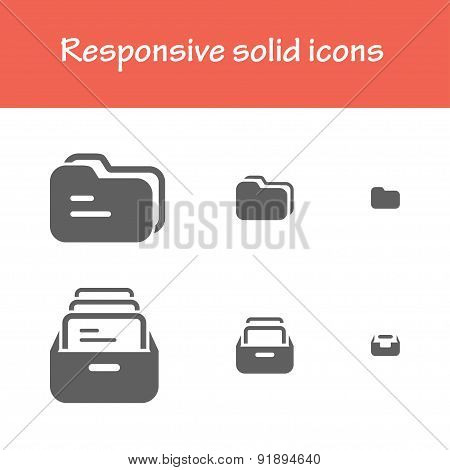 Responsive Solid Folder -file Icons